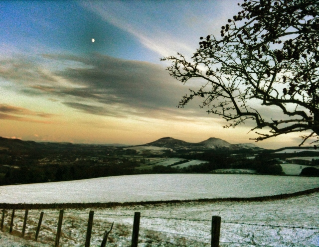 sunset over Scottish borders