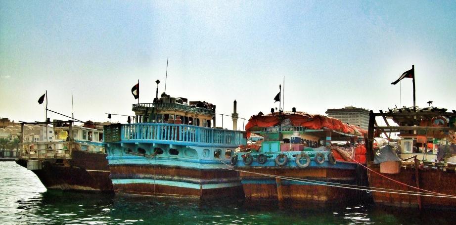berthed 4 deep in Dubai Harbour