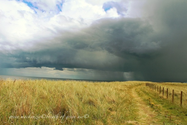 Path into storm cloud, East Lothian